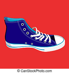 Single blue sneaker on red background. Vector available.