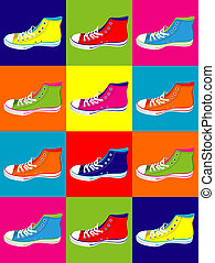 Teenager sneakers background - Colorful sneakers on...