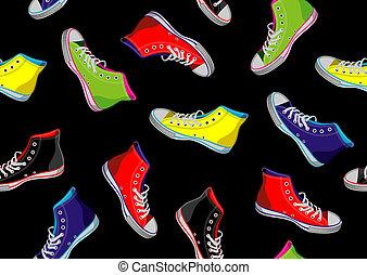 Teenager sneakers pattern. - Colourful sneakers on black...