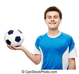 Teenager soccer player holding the ball