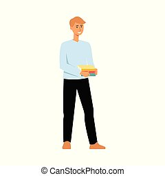 Teenager student cartoon character standing and smiling