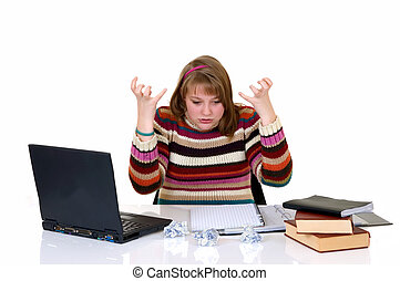 Teenager student doing homework
