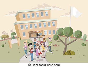 Teenager students in front of school.