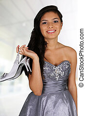 Teenager - Teenage girl set against a white background