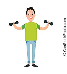 Teenager Training Dumbbells Vector Illustration