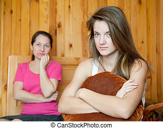 teenager, und, mutter, nach, streiten