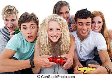 teenager, videospiele, aufgeregt, wohnzimmer, spielende