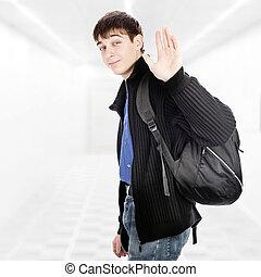 Teenager wave Goodbye - Teenager with Knapsack wave Goodbye...