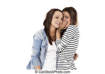 teenager whispering secrets to her friend on white ...