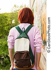 Teenager with a backpack