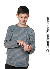 Teenager with a smartphone