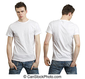 Teenager with blank white shirt - Young male with blank ...