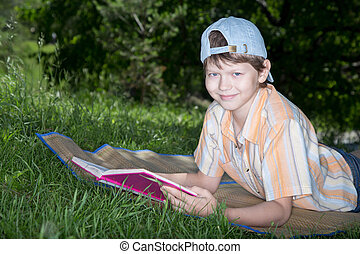 teenager with book