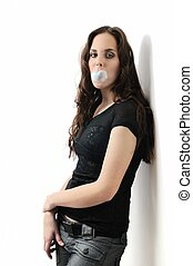 Teenager with bubblegum