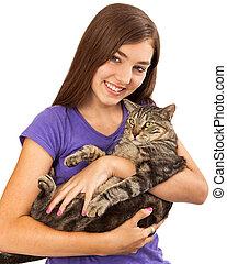 Teenager With Cat Closeup