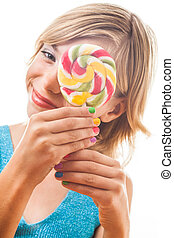 Teenager with colorful lollipop