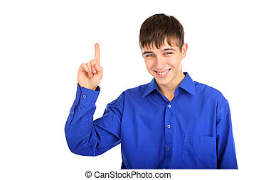teenager with finger up