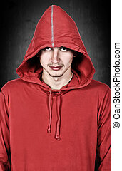 teenager with red hoodie