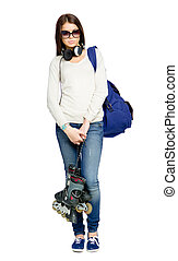 Full-length portrait of teenager with roller skates, rucksack and earphones wearing black sunglasses, isolated on white
