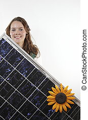 Teenager with solar module - teenager with photovoltaic...