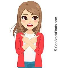 Teenager Woman Anxious Choosing Ways - Teenager woman ...