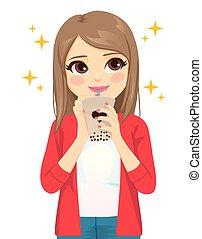 Teenager Woman Enjoying Tapioca drink