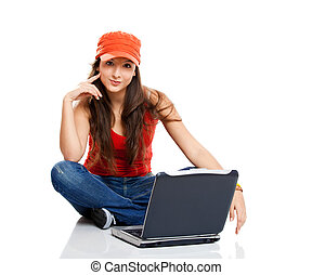 Teenager working with a laptop