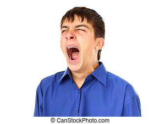 Teenager yawning