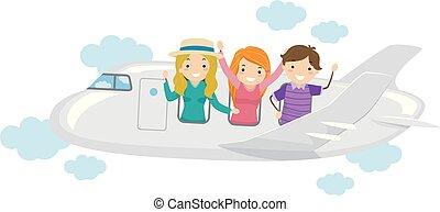 teenagere, buddies, stickman, rejse, illustration