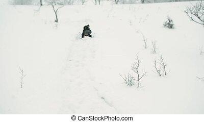 teenagerjunge, und, m�dchen, in, winter, nature.