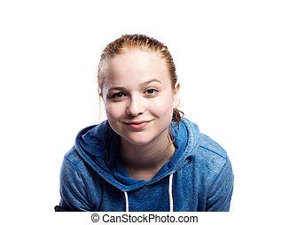 teenagermädchen, in, blaues, sweatshirt., studio- schuß,...
