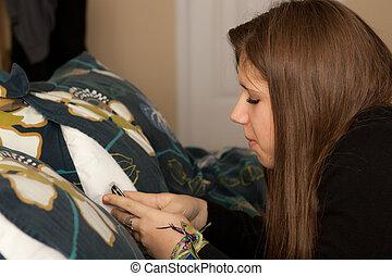 teenagermädchen, texting, auf, sie, mobilfunk