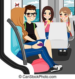Teenagers Commuting By Train - Young teenagers commuting by...