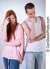 Teenagers couple having argument