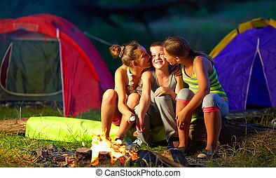 teenagers flirting in summer camp