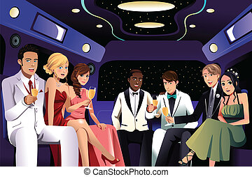 Teenagers going to a prom party in a limousine - A vector...