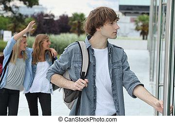 Teenagers going to school