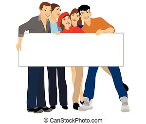 Teenagers holding blank banner - Vector illustration of a ...