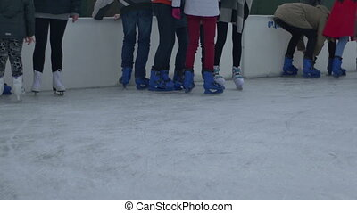 Teenagers Ice Skaters Restin - Group of teenagers resting...