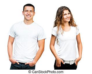 Teenagers in  Blank White Shirt