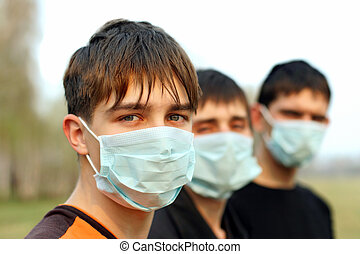 teenagers in mask