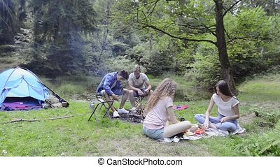 Teenagers in nature camping and cooking. - Group of...