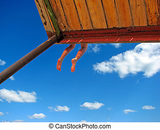legs hanging