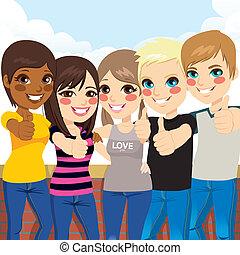Teenagers Making Thumbs Up
