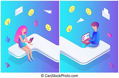 Teenagers Male and Female Vector Illustration