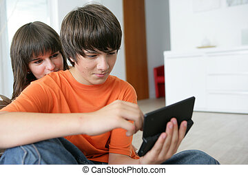 Teenagers playing a game