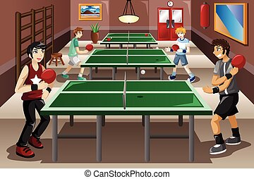 Teenagers playing ping pong - A vector illustration of...