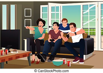 Teenagers Playing Video Game - A vector illustration of ...