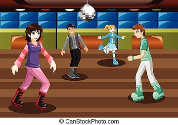 Teenagers roller skating in an indoor arena - A vector...