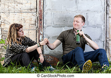 Teenagers sharing joint
